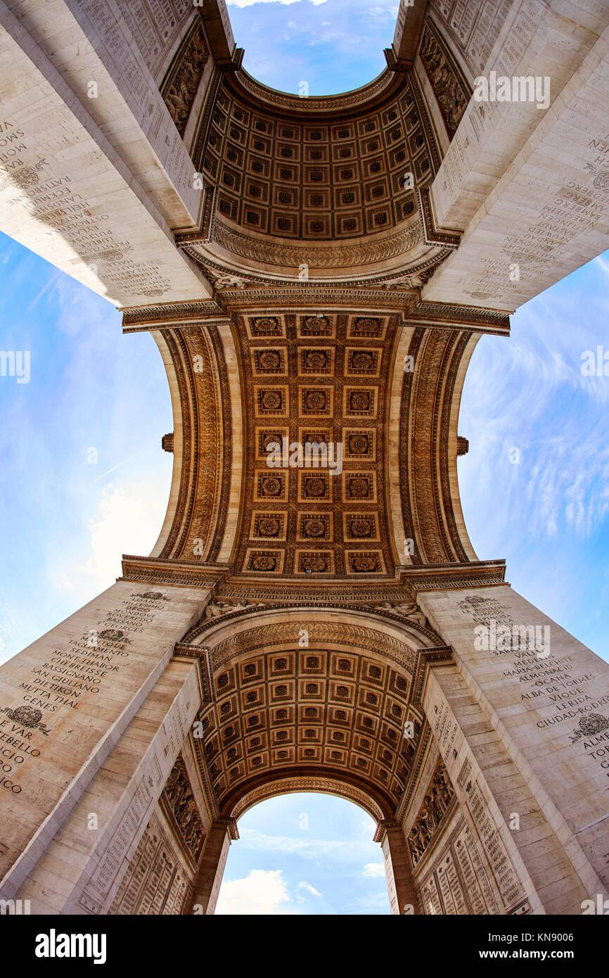 Arc de Triomphe in Paris Arch of Triumph low angle view at France. - Stock Image