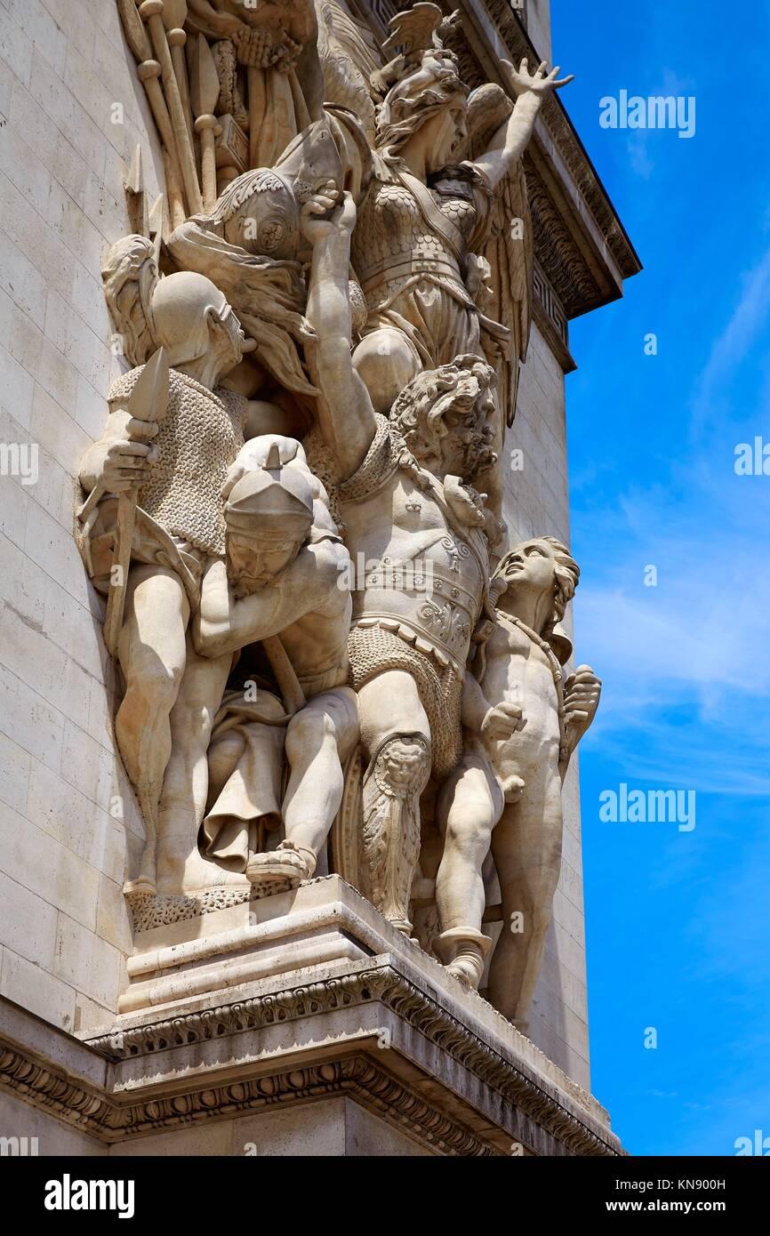 Arc de Triomphe in Paris Arch of Triumph detail at France. - Stock Image