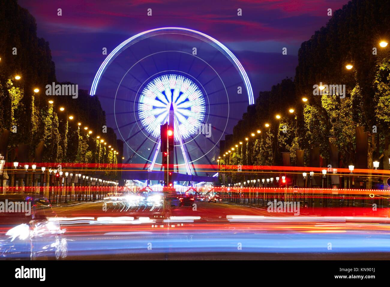Champs Elysees in Paris and Concorde sunset at France. - Stock Image