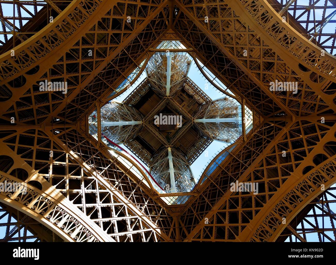 View on Eiffel Tower in Paris from below, France. - Stock Image