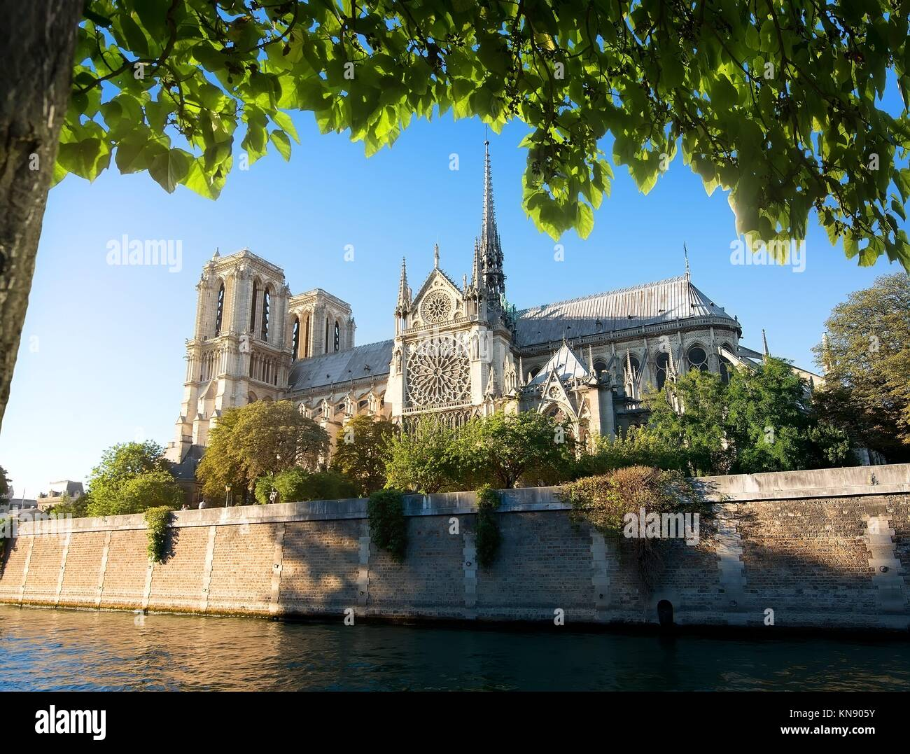Majestic cathedral Notre Dame de Paris in France. - Stock Image