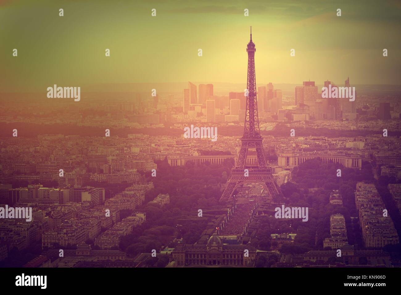 Eiffel Tower in Paris aerial sunset at France. Stock Photo