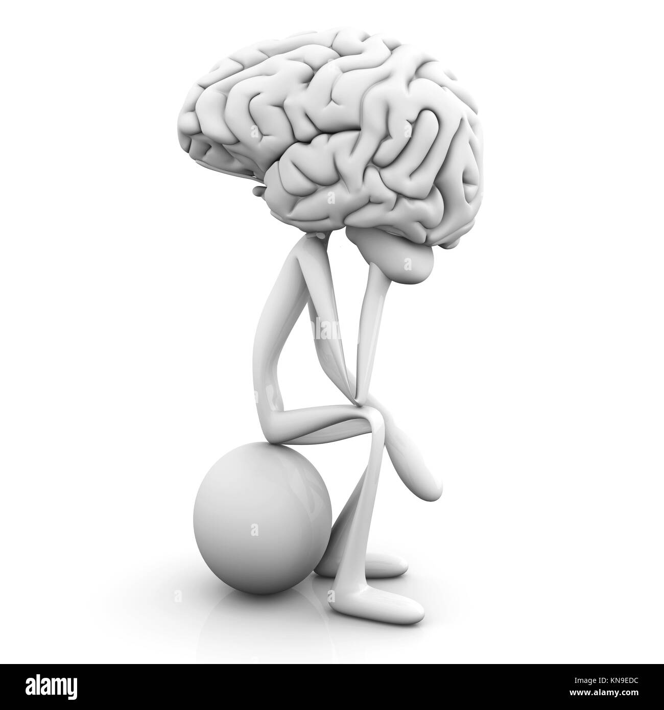 A cartoon figure con a huge brain. 3D rendered illustration. Isolated on white. - Stock Image