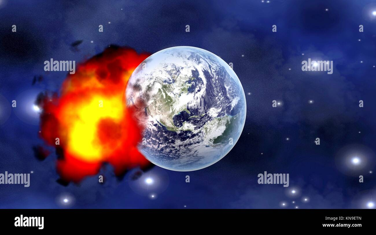 Explosion after a Meteor impact on Planet earth. 3D rendered illustration. - Stock Image
