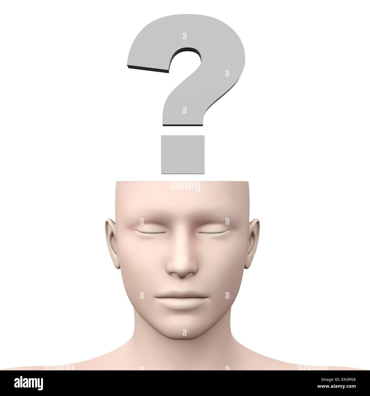 A generic questioning person. Question mark in the head. 3D rendered Illustration. - Stock Image