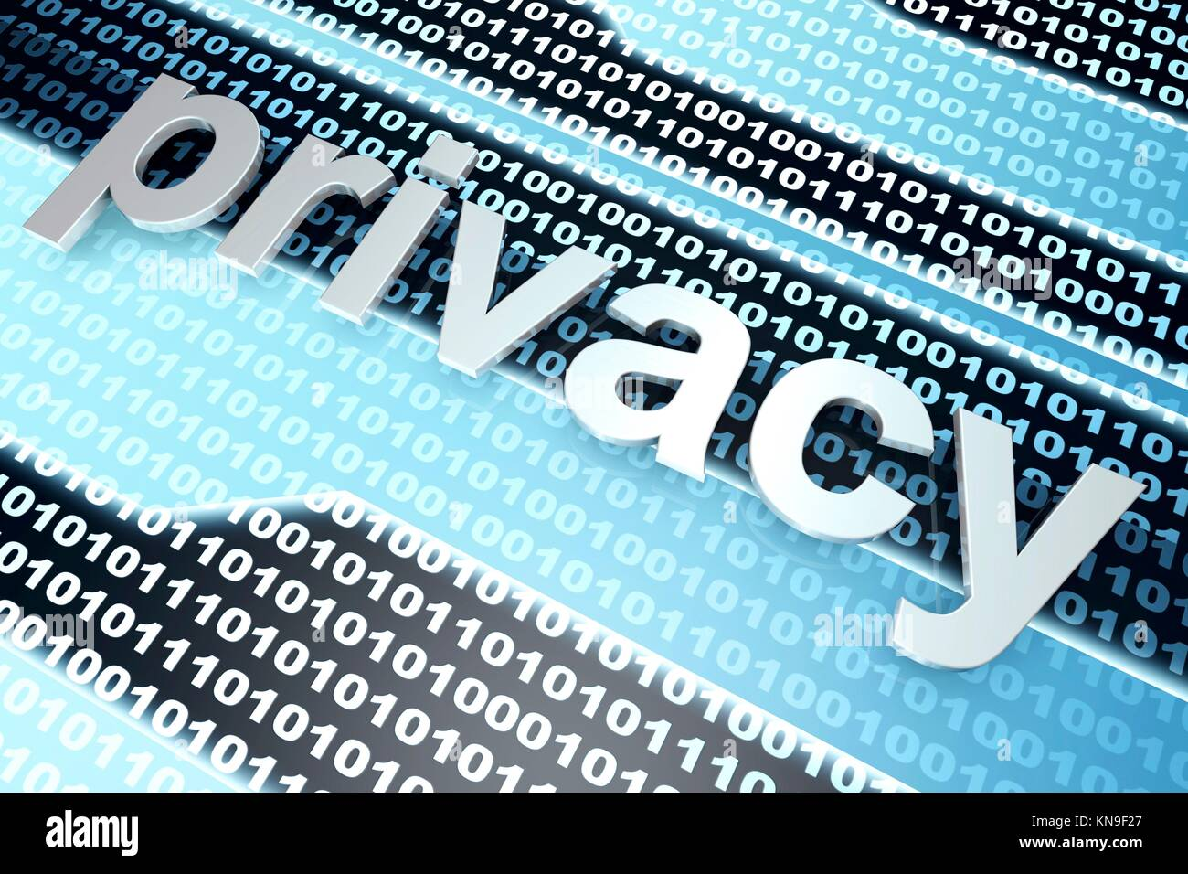 The word Privacy in front of a binary background. - Stock Image