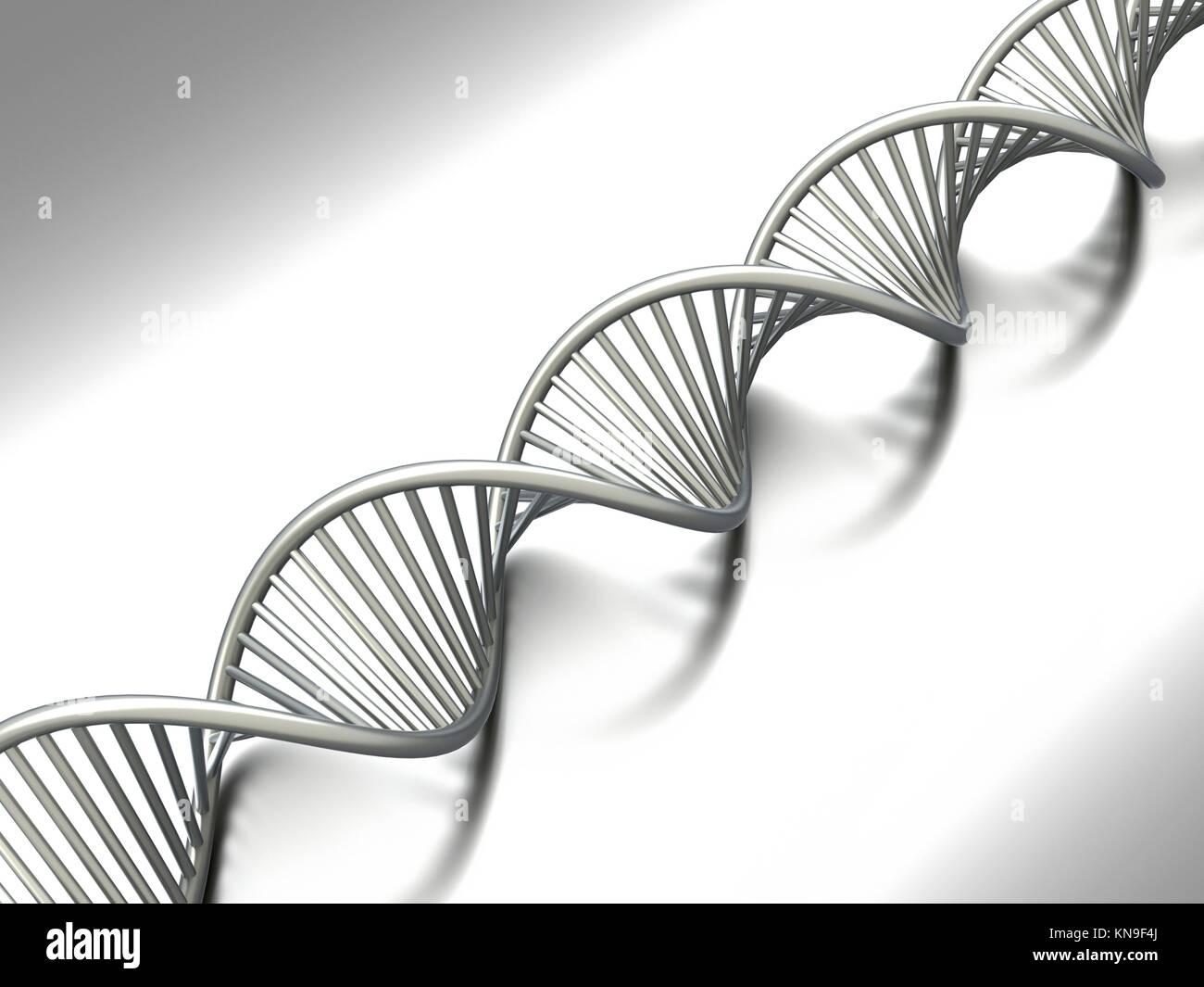 A symbolic DNA model. 3D rendered illustration. - Stock Image
