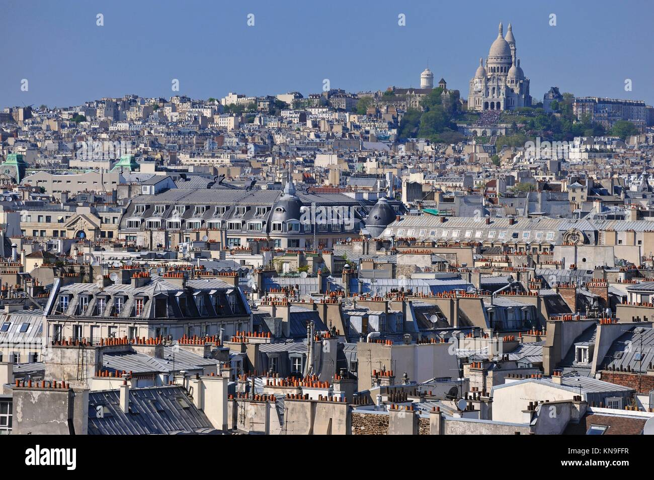 Paris cityscape with Montmartre hill and the Sacre-Coeur from the Eiffel Tower, Paris, France, Europe. Stock Photo