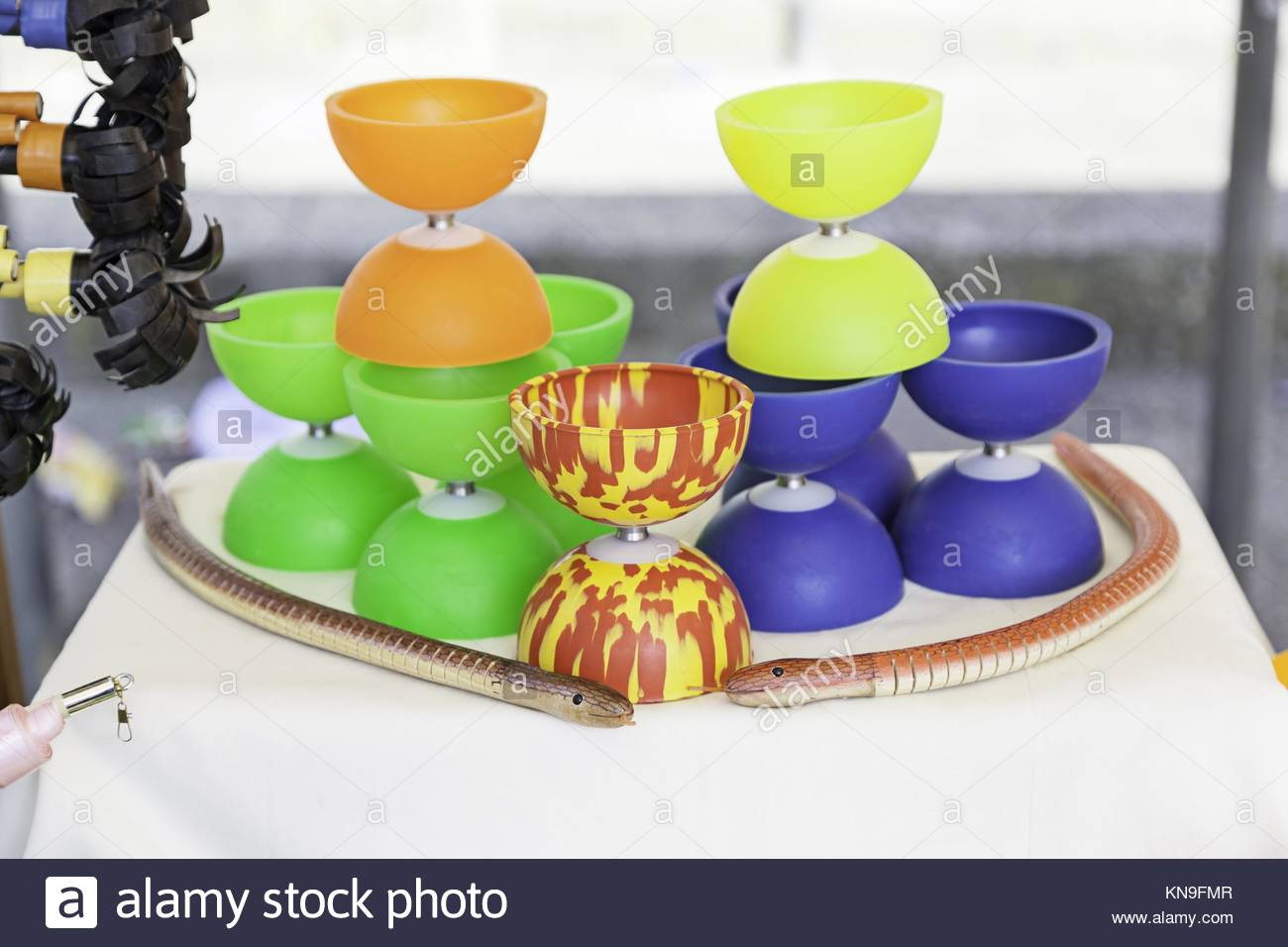 Diábolo to juggle, detail of a game to show, toy. - Stock Image