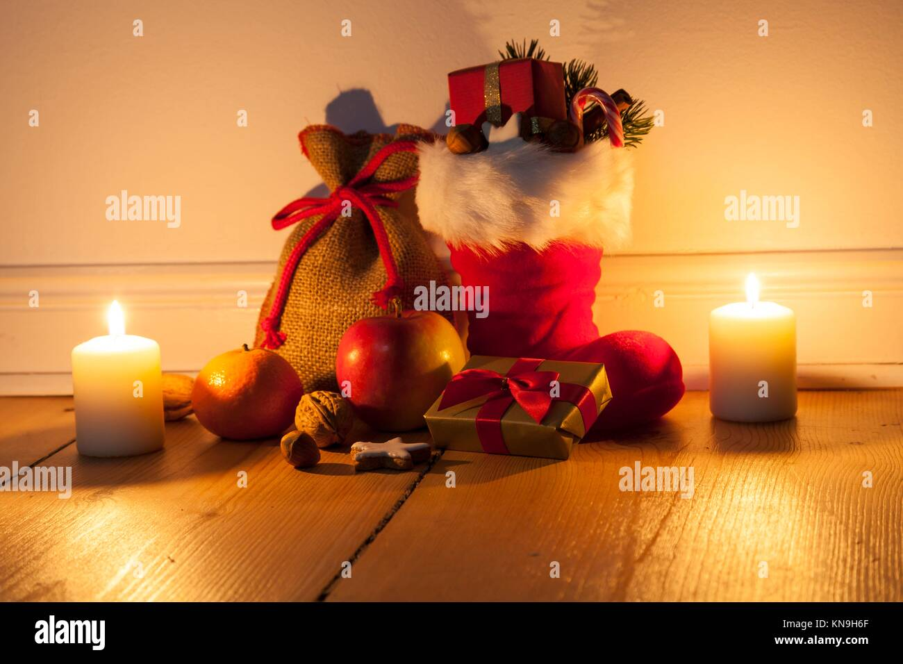 Santa Boots. - Stock Image