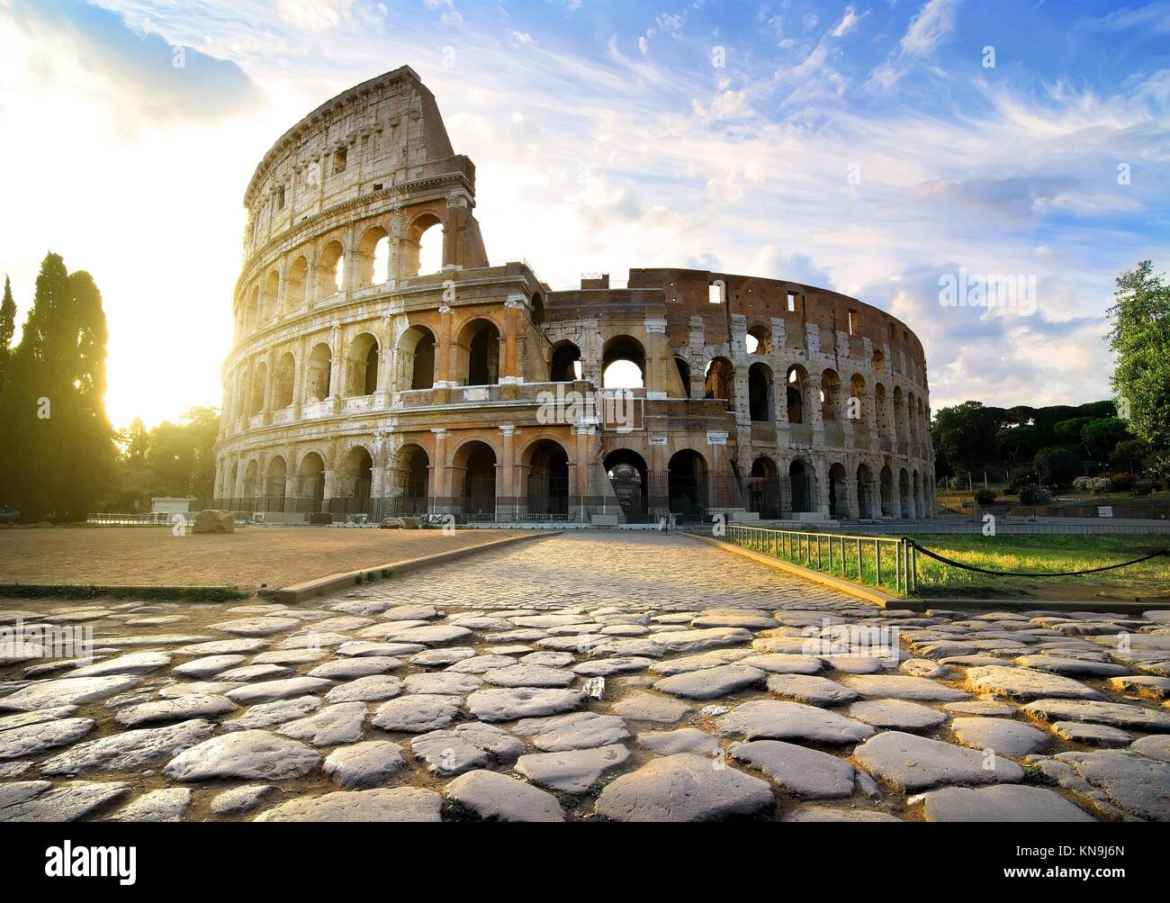 Road to Colosseum in calm sunny morning. - Stock Image