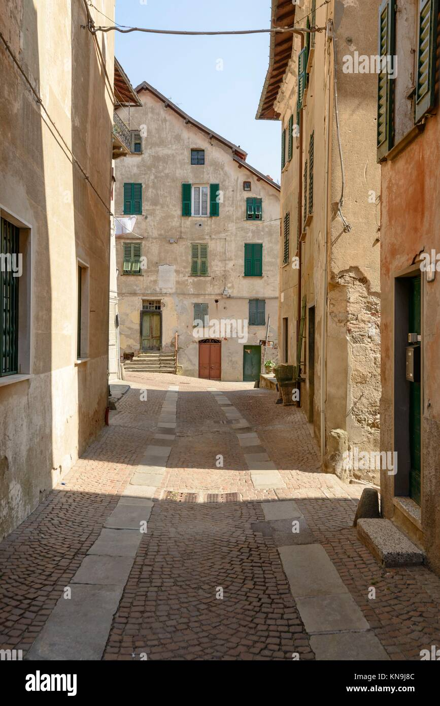 view of old houses and street in village of Sassello, inland Ligure, Italy. - Stock Image
