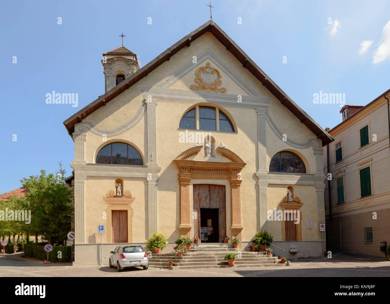 facade of ancient church of Immacolata in Sasello village, Ligure inland, Italy. - Stock Image