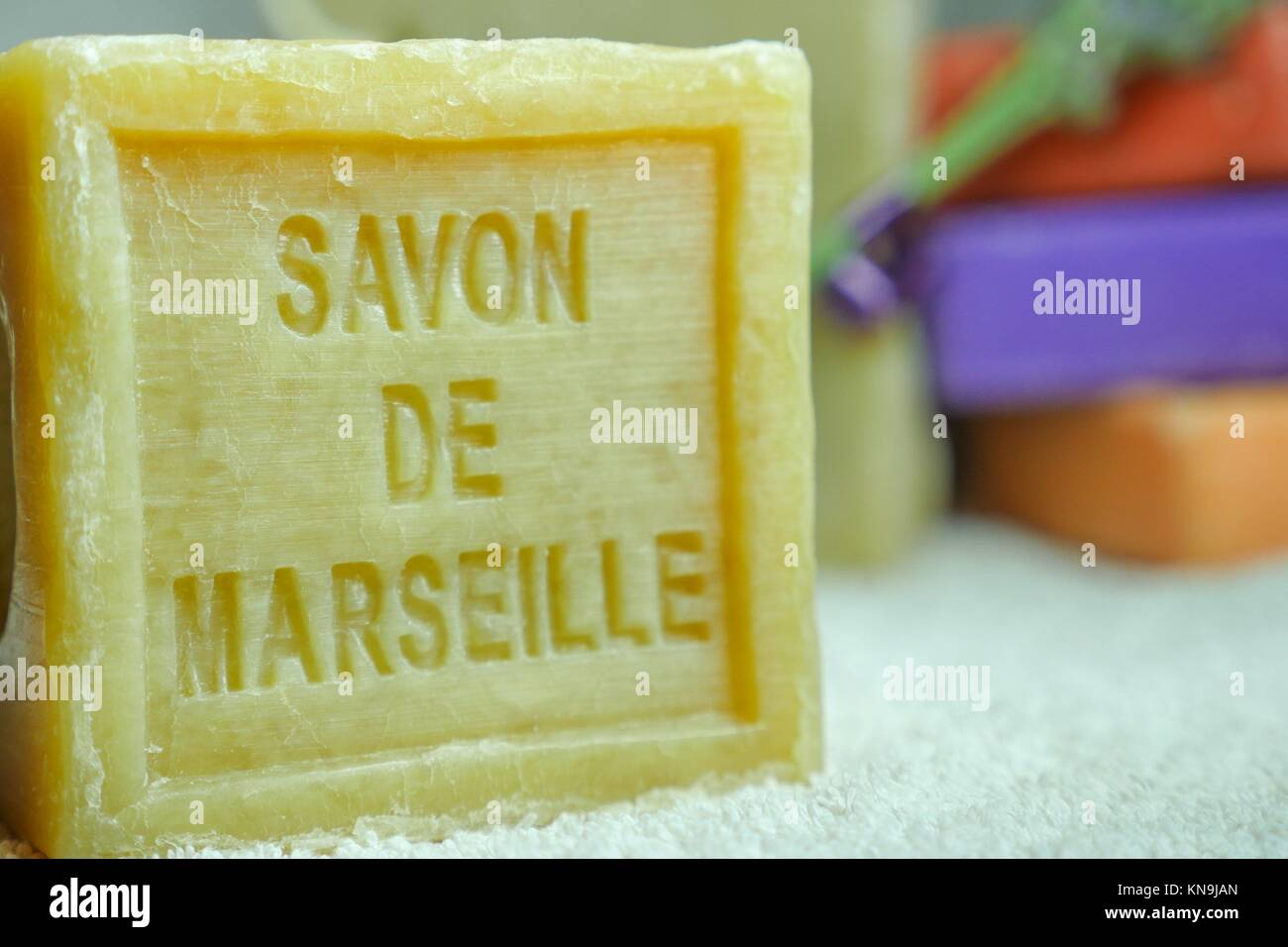 Marseille soap natural Multicolor soaps handmade with organic oil of lavender ond another flowers. Stock Photo