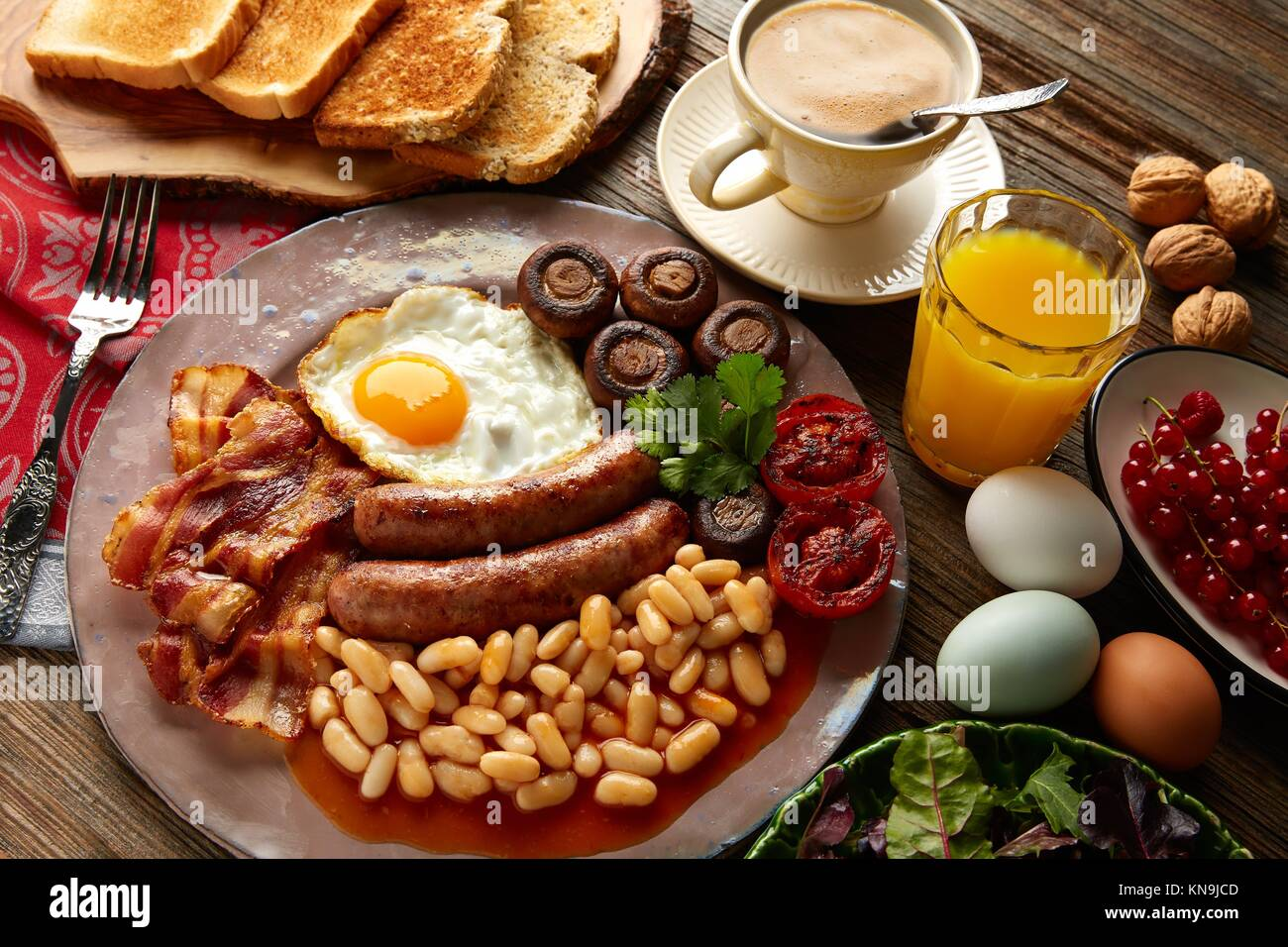 breakfast food coffee american fried egg sausage stock photos breakfast food coffee american. Black Bedroom Furniture Sets. Home Design Ideas