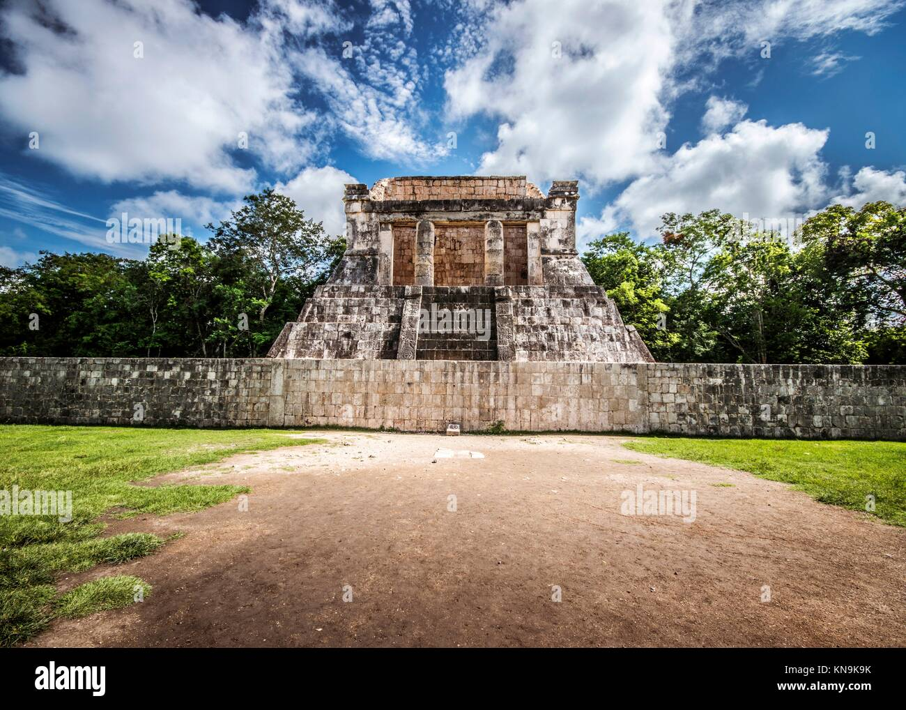 Tribune of the ball game in Chichen Itza (Mexico). - Stock Image