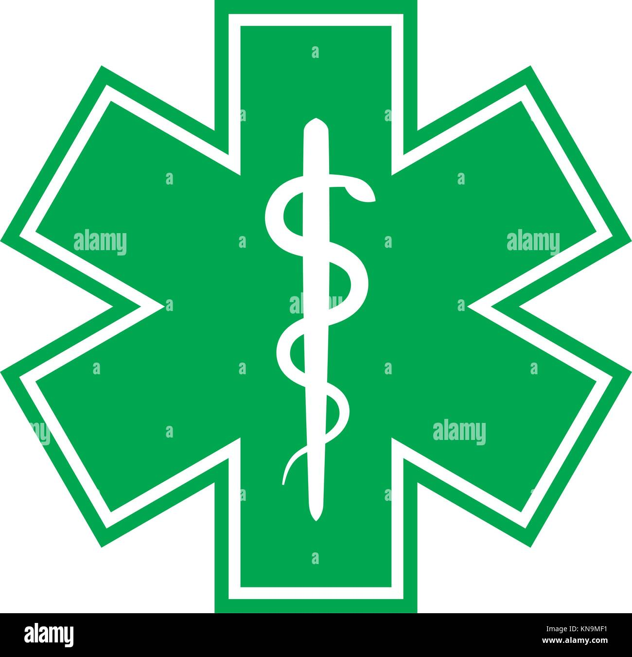 The Star Of Life With The Staff Of Asclepius Modern Symbol Of The