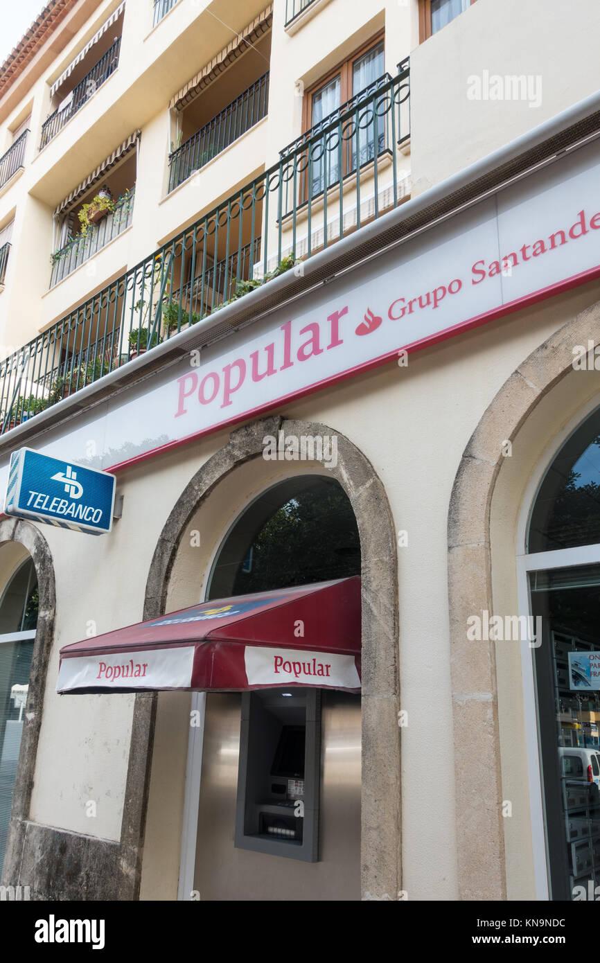 Popular Banco, Bank in Moraira, Spain, Europe. - Stock Image