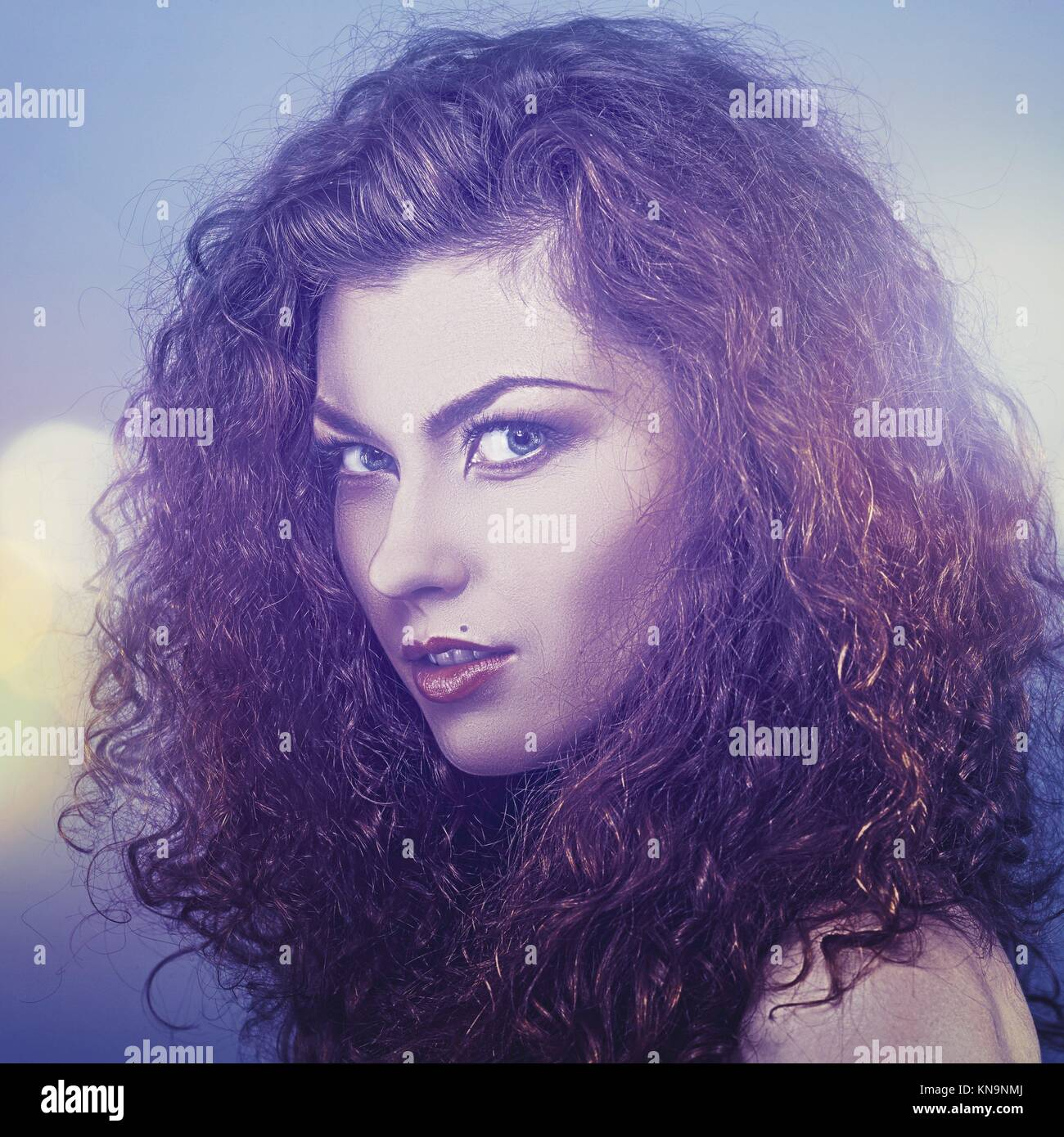 Beauty in the darkness, female fashionable portrait. - Stock Image