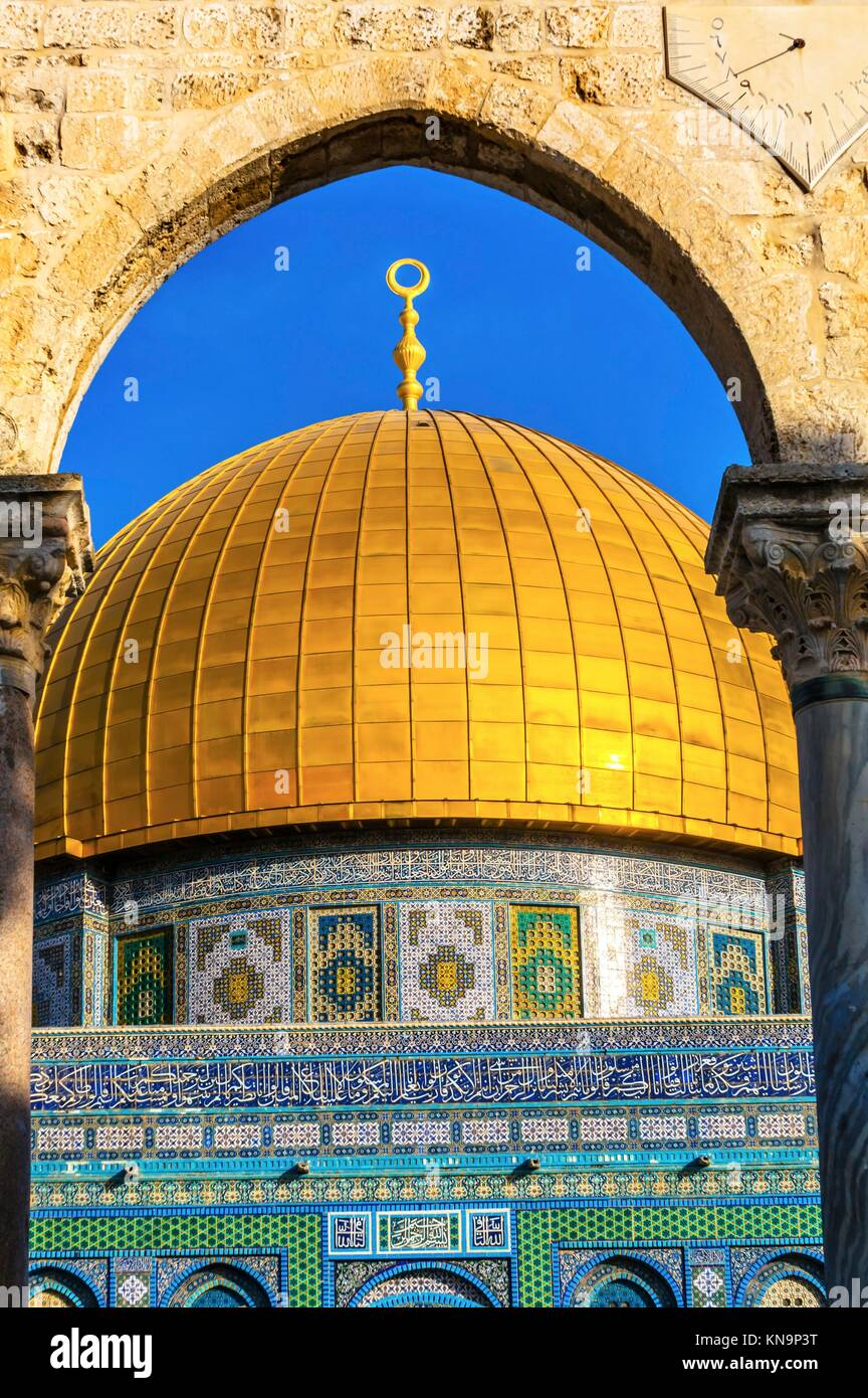 Dome of the Rock Islamic Mosque Temple Mount Jerusalem Israel. Built in 691 One of most sacred spots in Islam where - Stock Image
