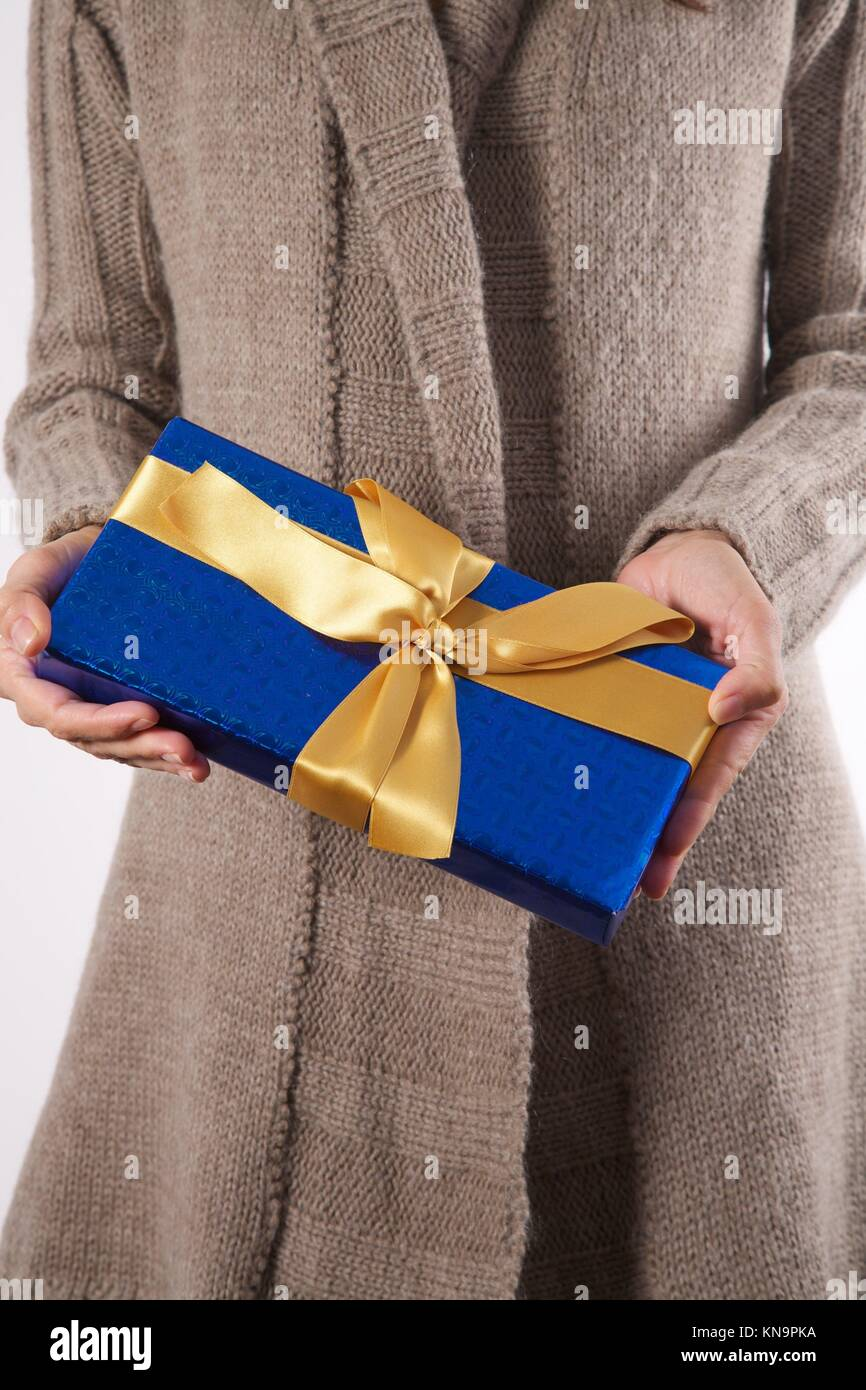 woman detail with a gift box in her hands. Stock Photo