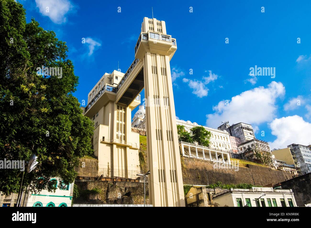 Elevador Lacerda elevator is one of the most famous landmarks in Salvador de Bahia Brazil. - Stock Image