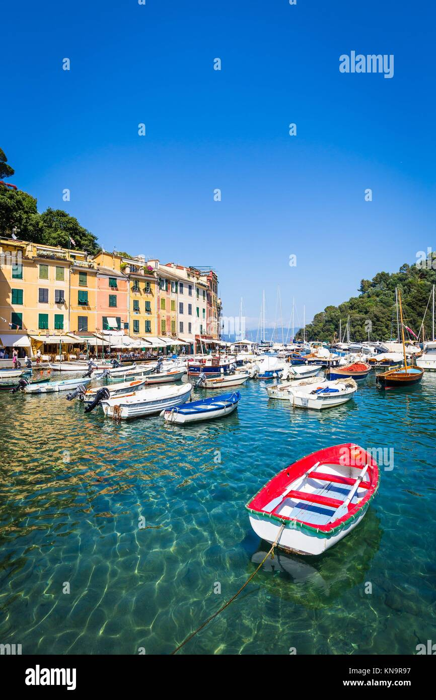 Close to Cinque Terre area, Portofino is one of the most beautiful and fashion town. - Stock Image