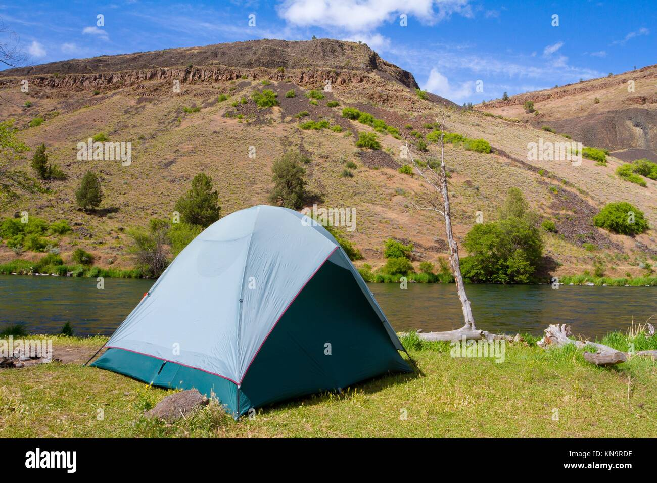 A rustic tent campsite on the Deschutes River in Oregon shows a tent setup next to a boat and the river. This is - Stock Image
