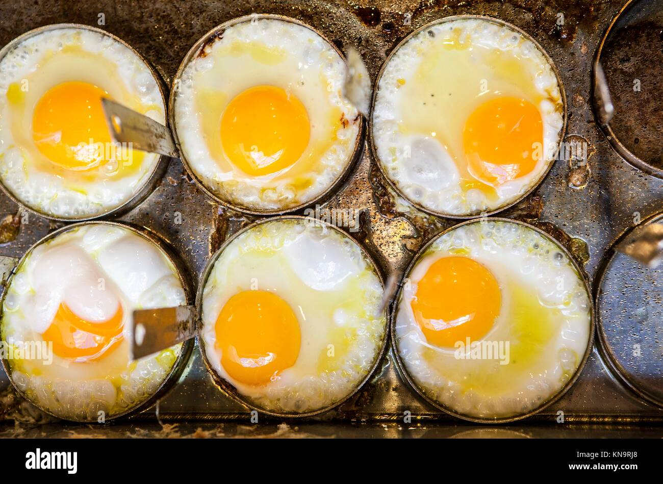 Cooking six fried eggs with moulds on griddle. High angle view. - Stock Image