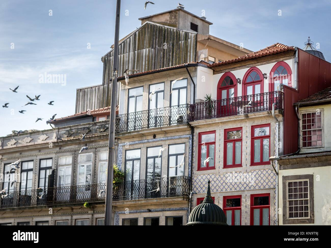 Residential buildings in Santo Ildefonso district of Porto city on Iberian Peninsula, second largest city in Portugal. - Stock Image
