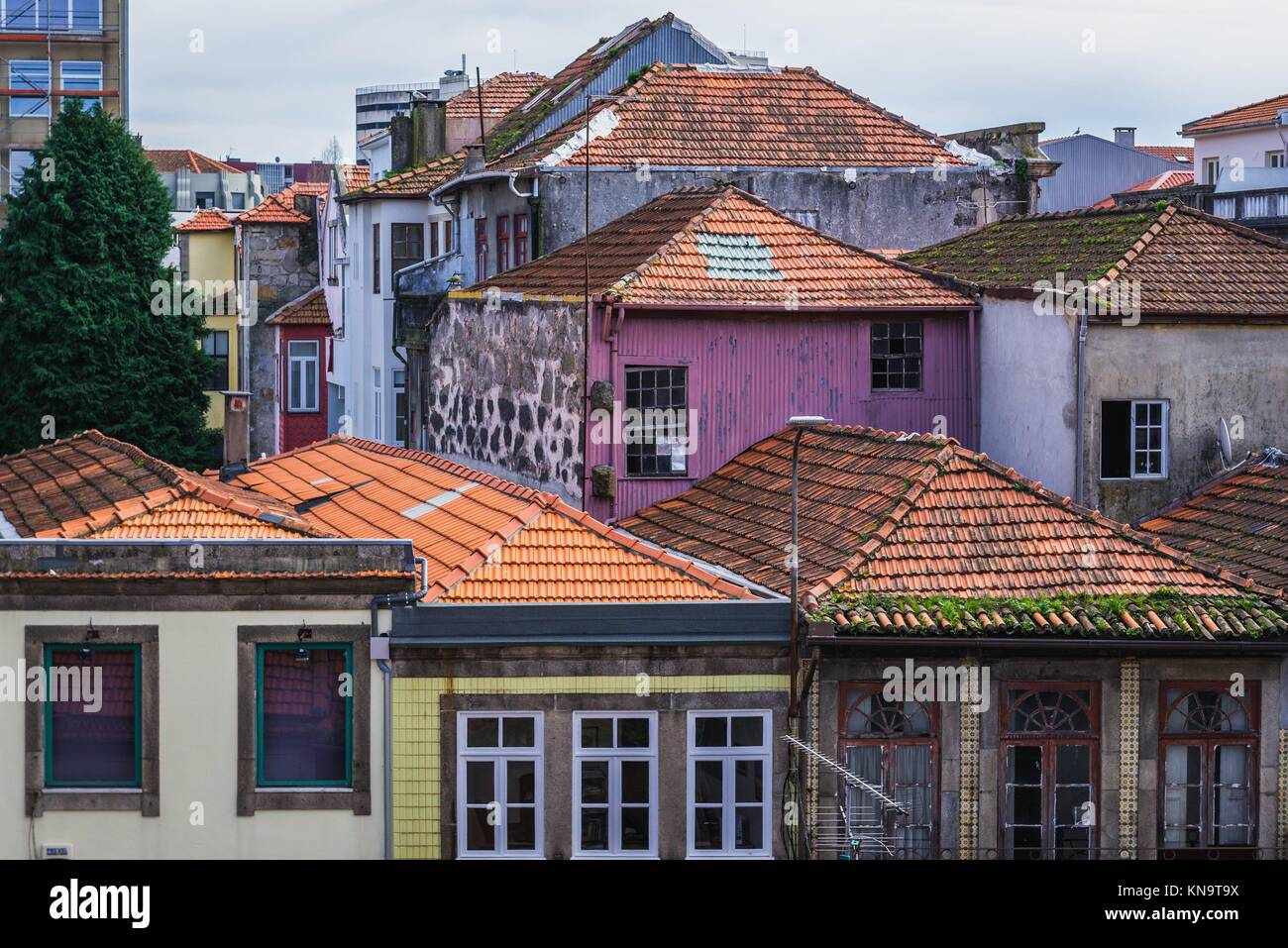 Old apartment buildings in Santo Ildefonso district of Porto city on Iberian Peninsula, second largest city in Portugal. - Stock Image