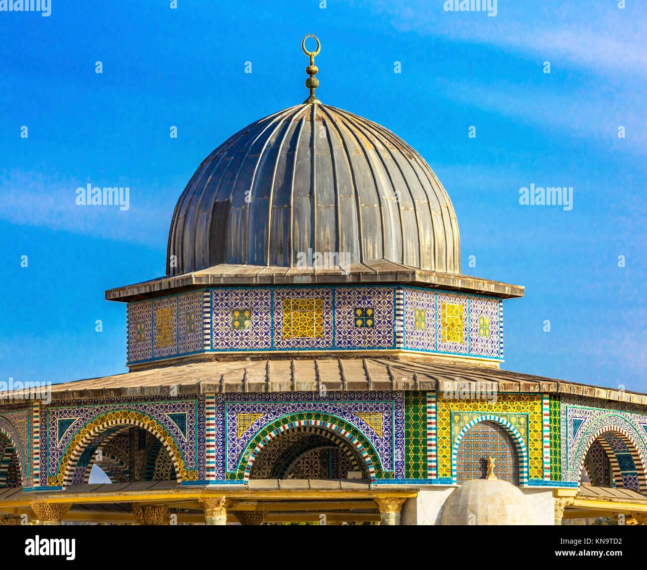 Small Shrine Dome of the Rock Islamic Mosque Temple Mount Jerusalem Israel. Built in 691 One of most sacred spots Stock Photo