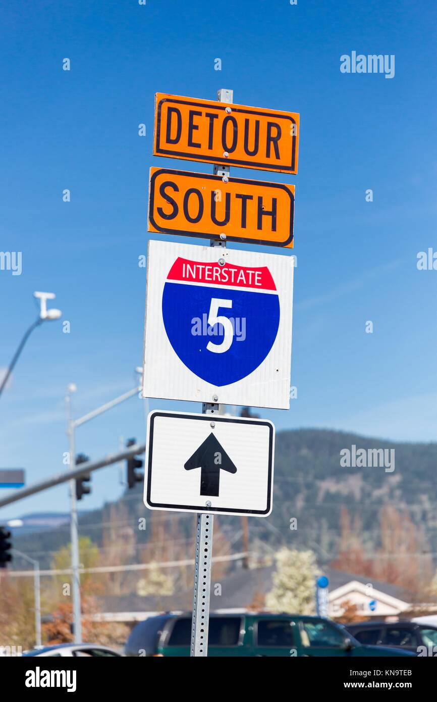 Orange detour sign for Interstate 5 or I5 South detoured through the city to avoid the road construction on the - Stock Image