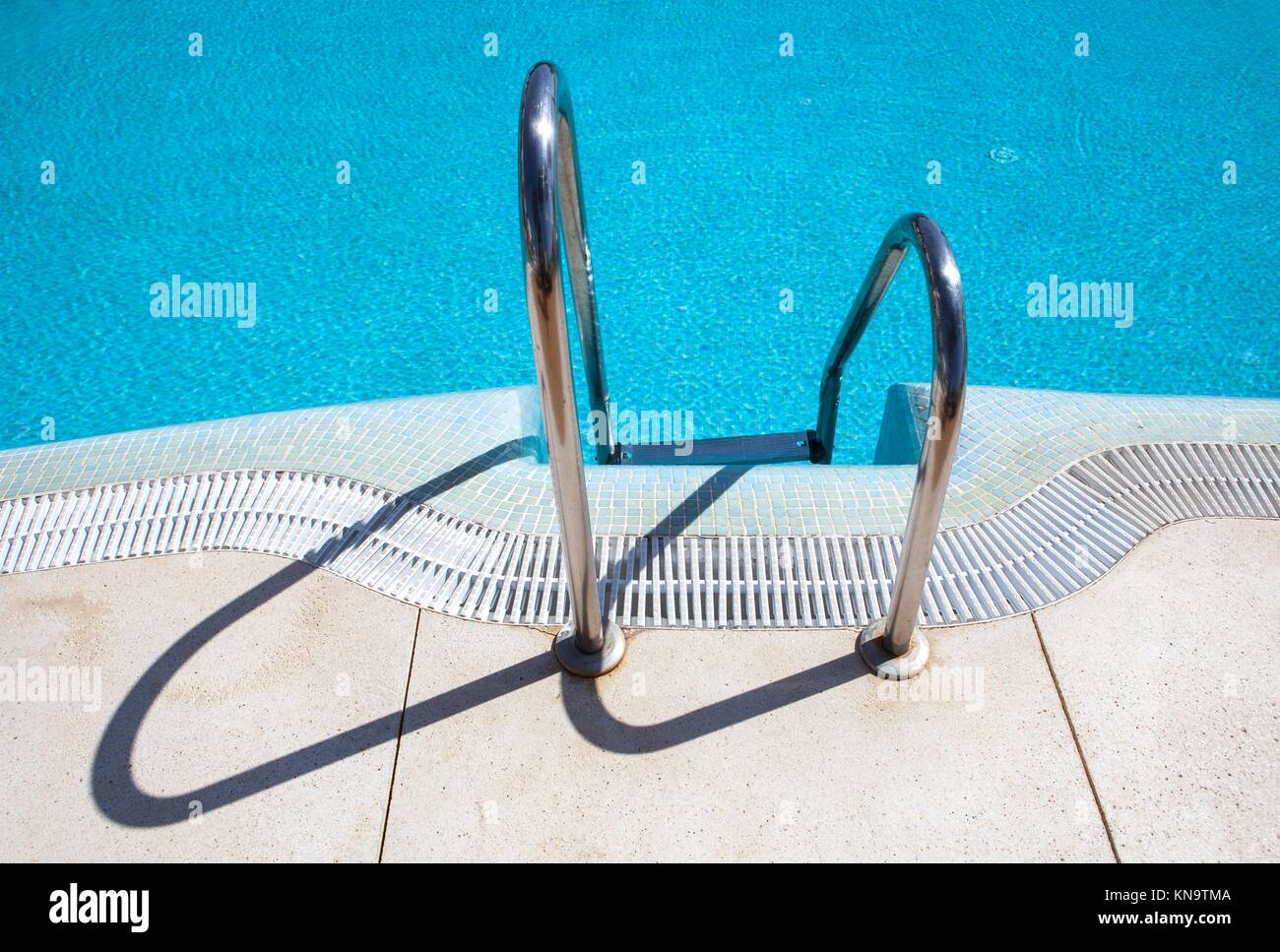 Pool ladder step of a swimming pool, Andalusia, Spain Stock ...