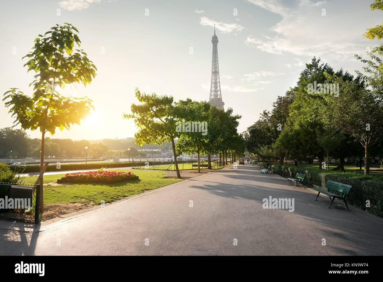 Calm morning in Trocadero Gardens in Paris, France. - Stock Image