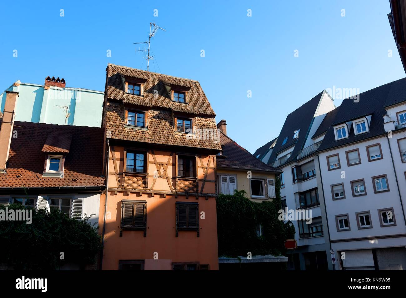Neat Houses of Strasbourg and blue sky, France. - Stock Image