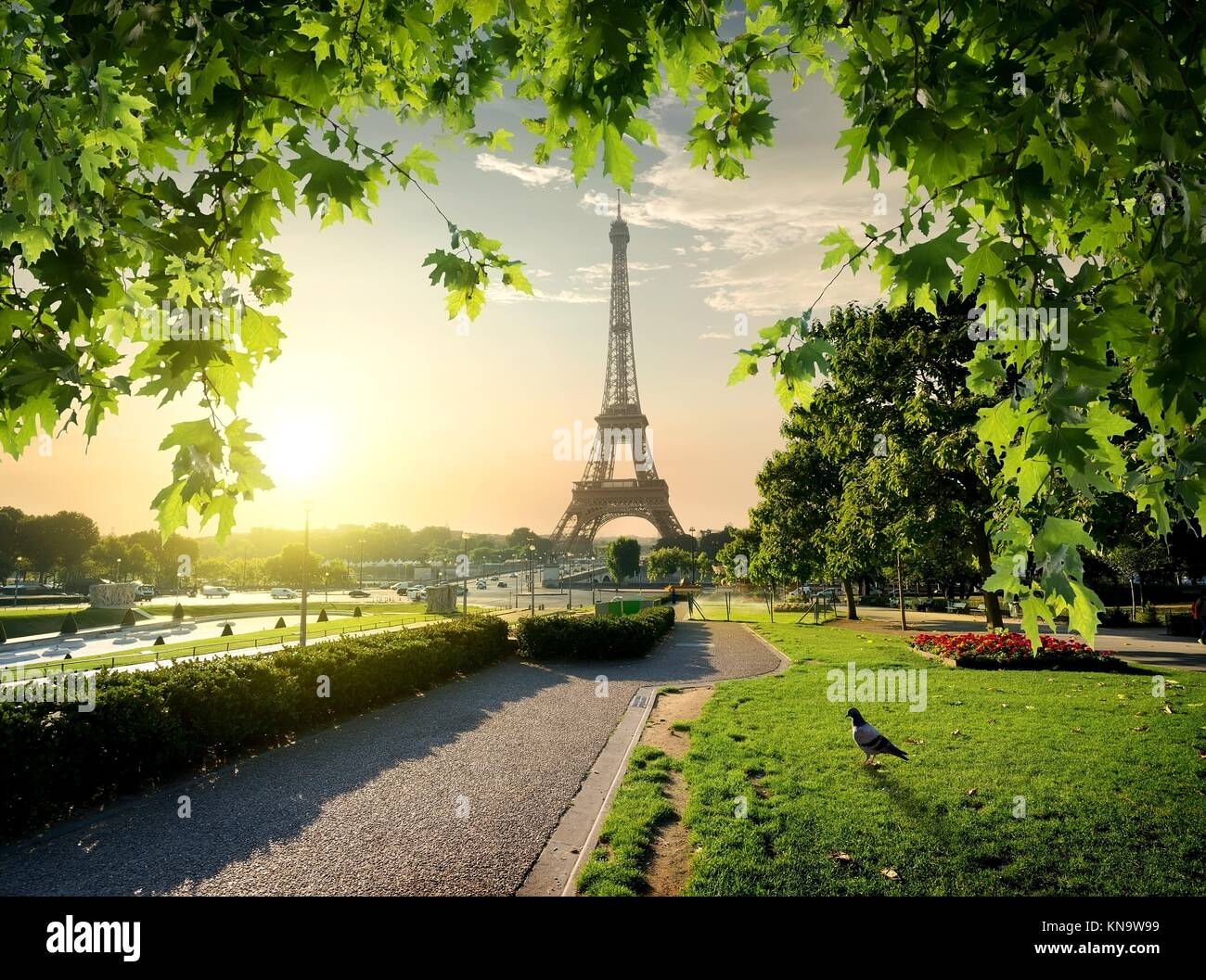 Jardins du Trocadero near Eiffel Tower in Paris, France. - Stock Image