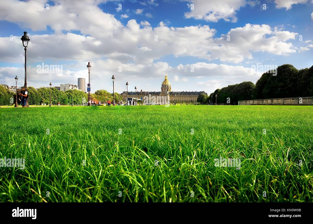 Lawn with green grass near Les Invalides in Paris, France. Stock Photo