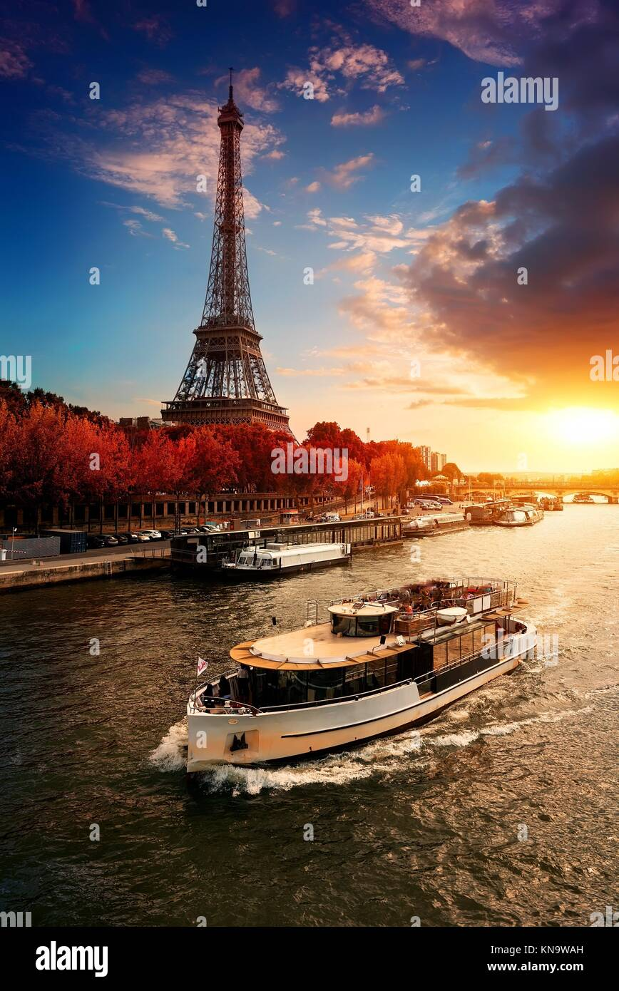 Eiffel tower on the bank of Seine in Paris, France. - Stock Image