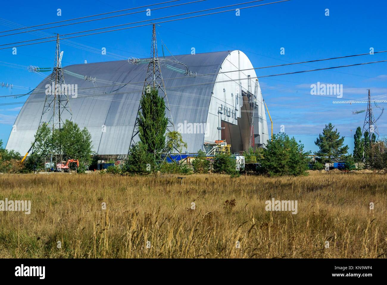 Chernobyl New Safe Confinement for No 4 unit of Chernobyl Nuclear Power Plant in Zone of Alienation, Ukraine. - Stock Image