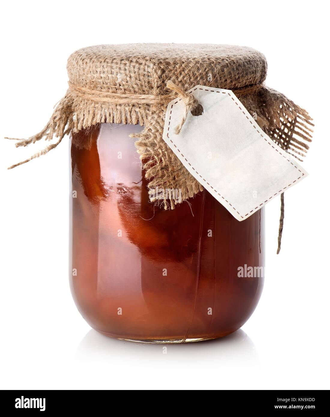 Jar of confiture isolated on a white background. - Stock Image