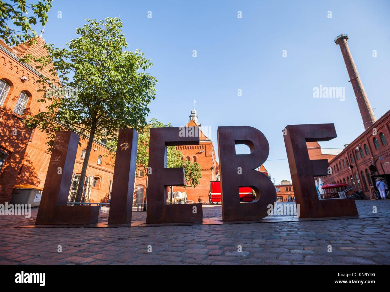 LIEBE (´´Love´´) sign at the Kulturbrauerei in Berlin. - Stock Image