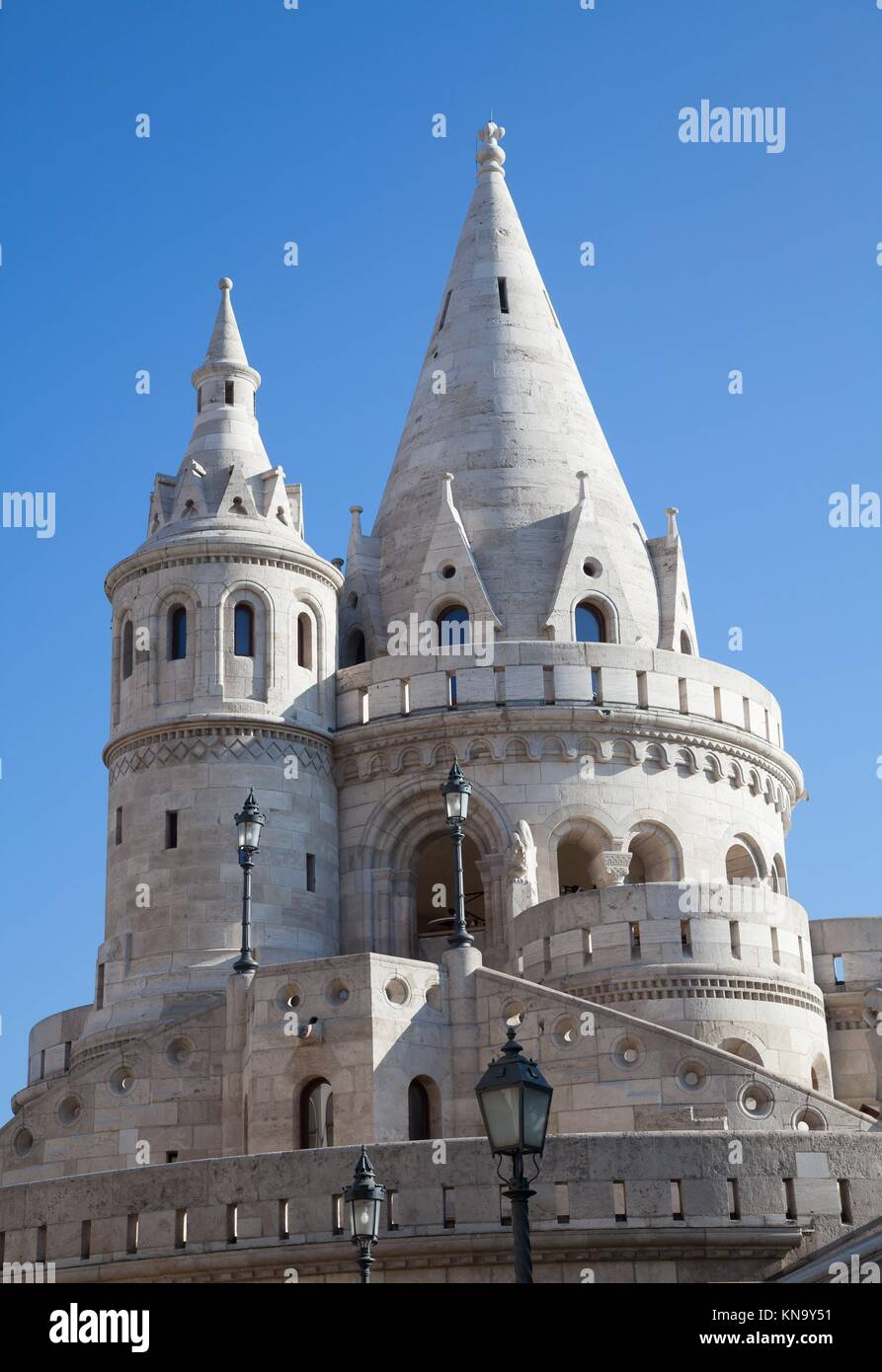 Fisherman's Bastion is a terrace in neo-Gothic and neo-Romanesque style, Budapest famous landmark. - Stock Image