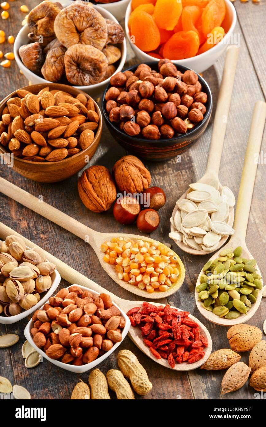 Composition with dried fruits and assorted nuts. - Stock Image