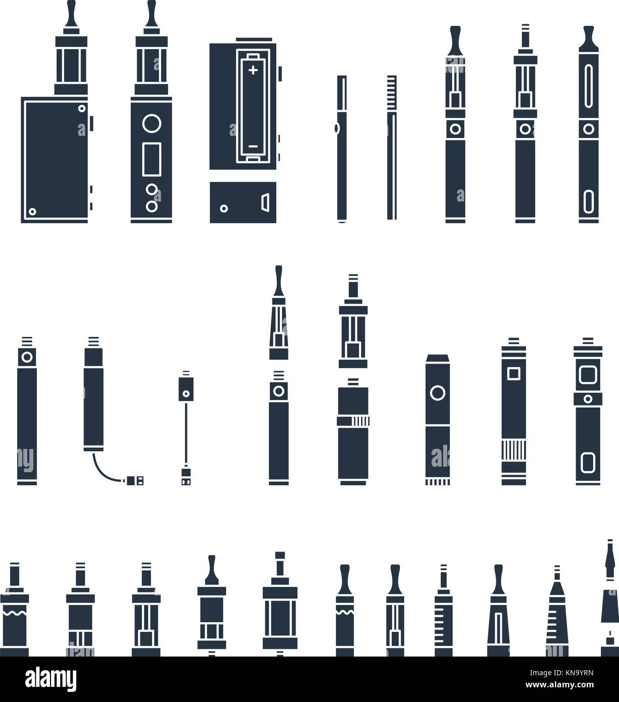vecor set of vape related simple Icons. RDA, Atomizer, drip tip, mod, e-liquid, coil - Stock Image