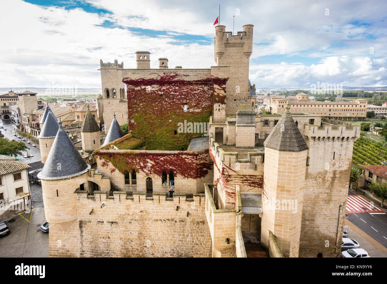 Palace of the Kings of Navarre castle, Olite, Navarra Community, Spain. Stock Photo