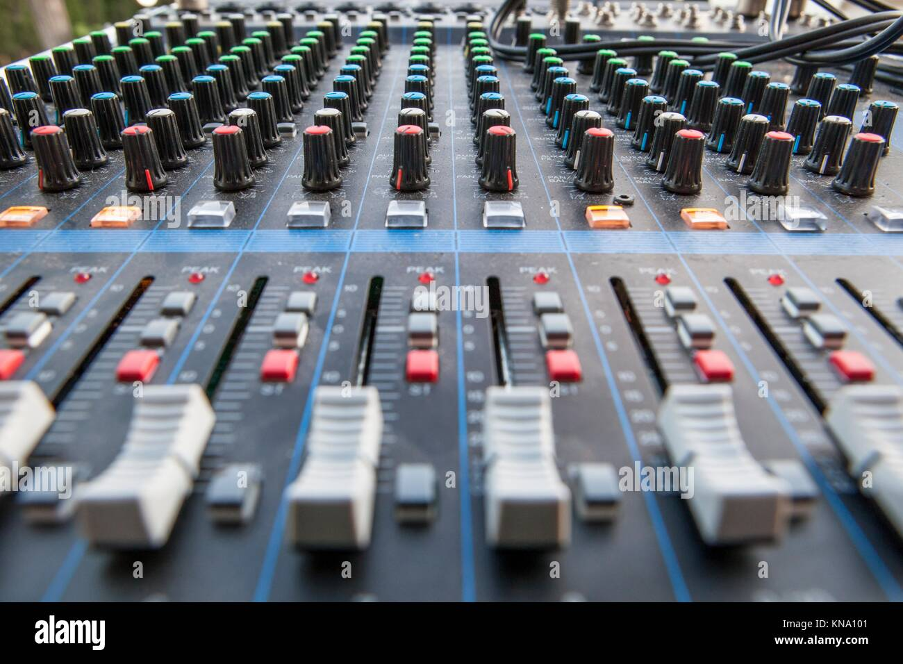 Sound board closeup for outside live performance. Selective focus. - Stock Image