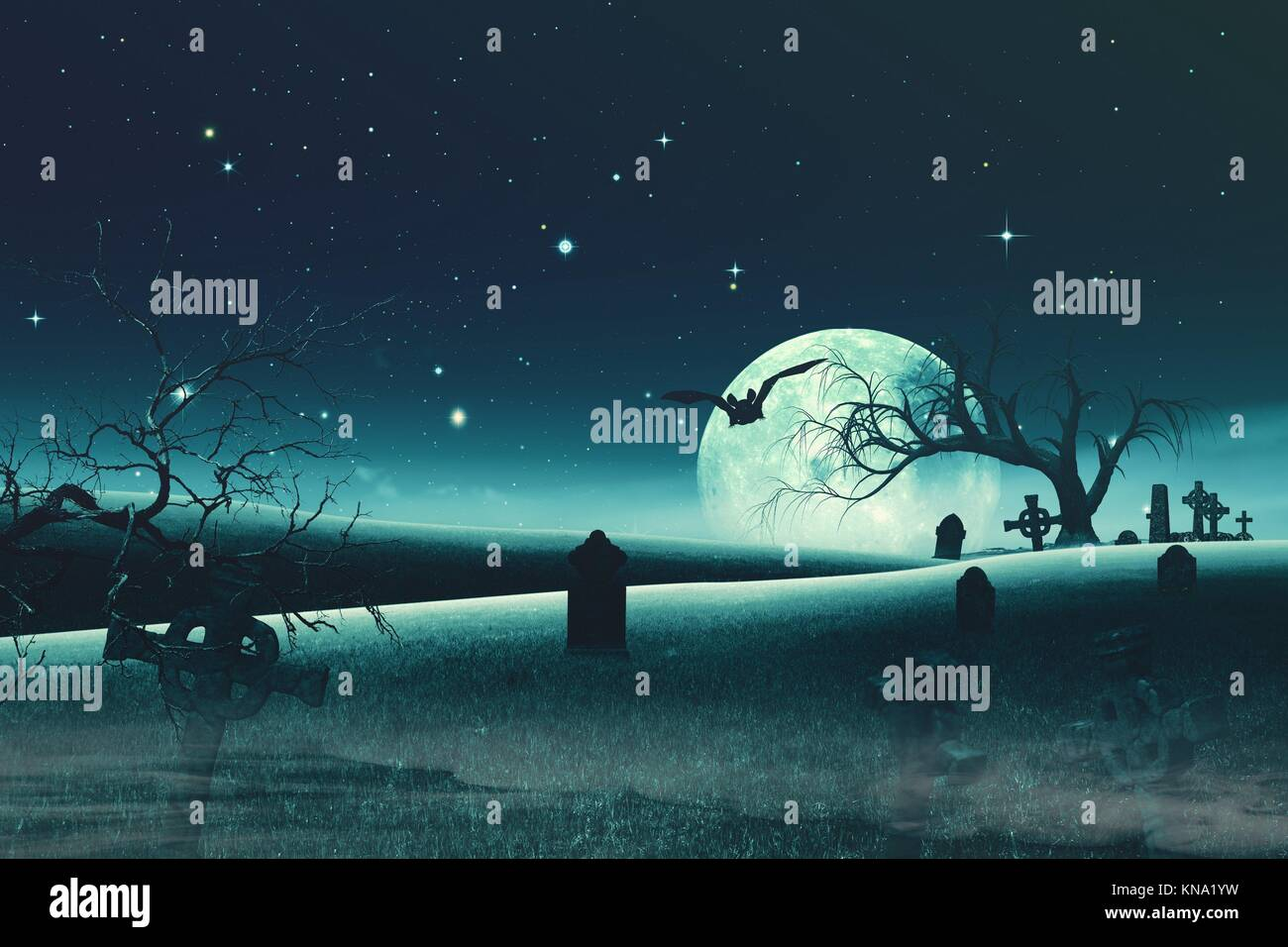Abstract Halloween backgrounds with old cemetery and full Moon. - Stock Image
