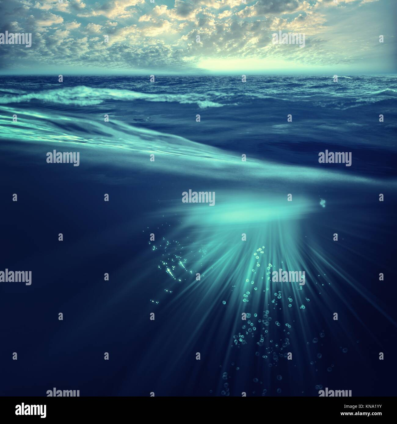Deep ocean, marine backgrounds with waves and sea surface. - Stock Image