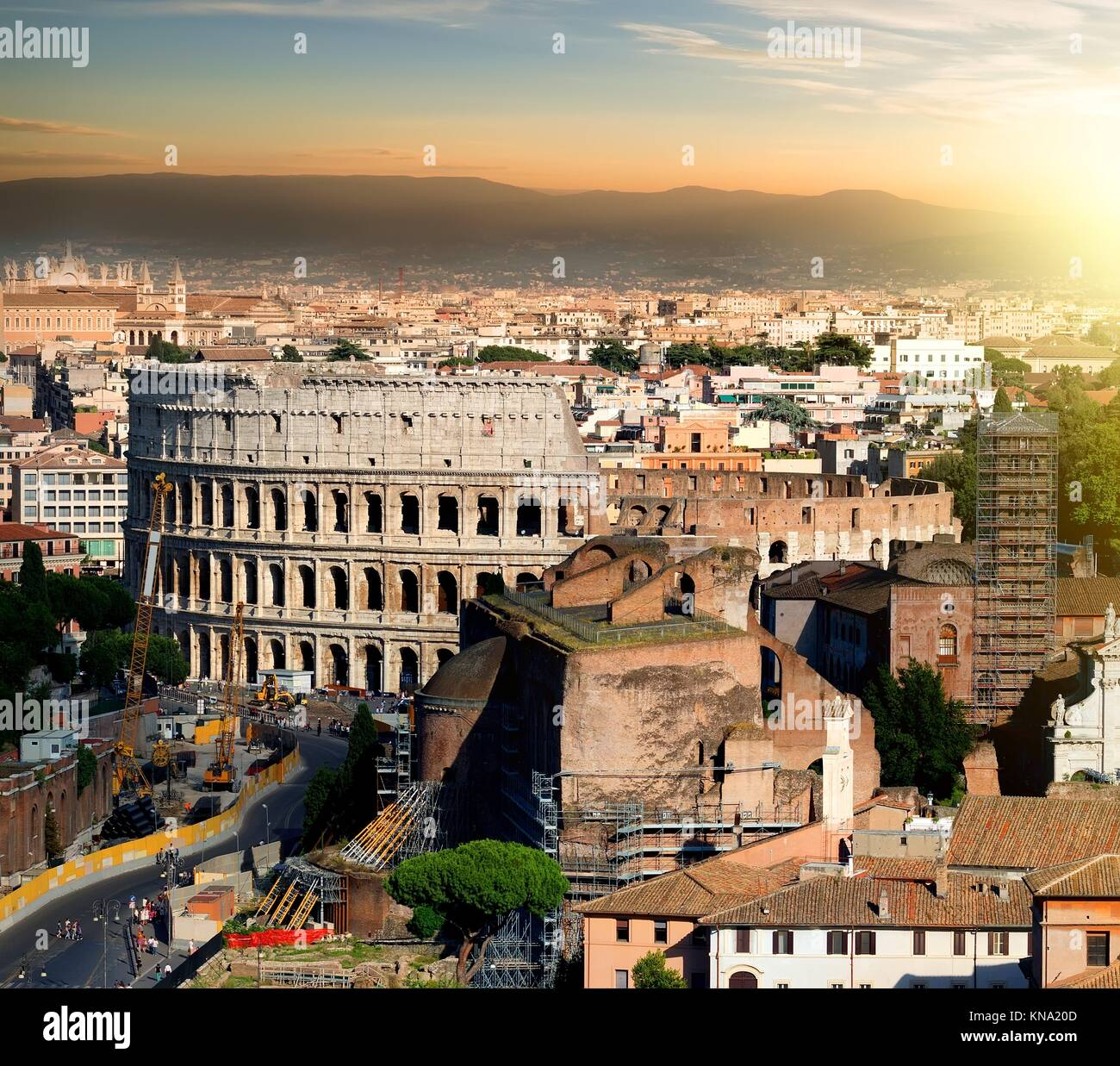 Great ancient colosseum in Rome at sunset, Italy. - Stock Image